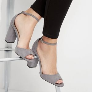 "NWOT MAURICES ""Nola"" Gray Open Toe Chunky Heels"